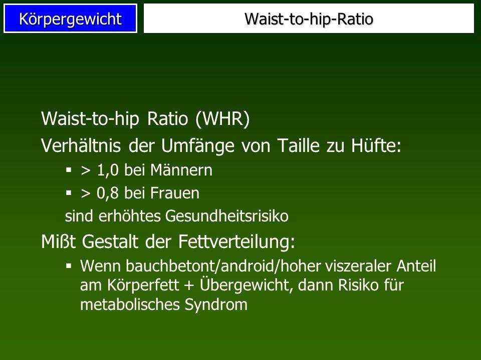 KörpergewichtWaist-to-hip-Ratio Waist-to-hip Ratio (WHR) Verhältnis der Umfänge von Taille zu Hüfte: > 1,0 bei Männern > 0,8 bei Frauen sind erhöhtes