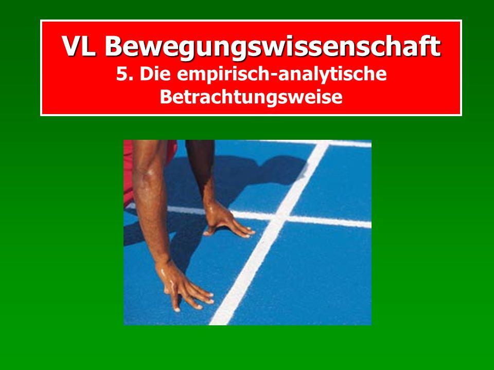 VL Bewegungswissenschaft VL Bewegungswissenschaft 5. Die empirisch-analytische Betrachtungsweise