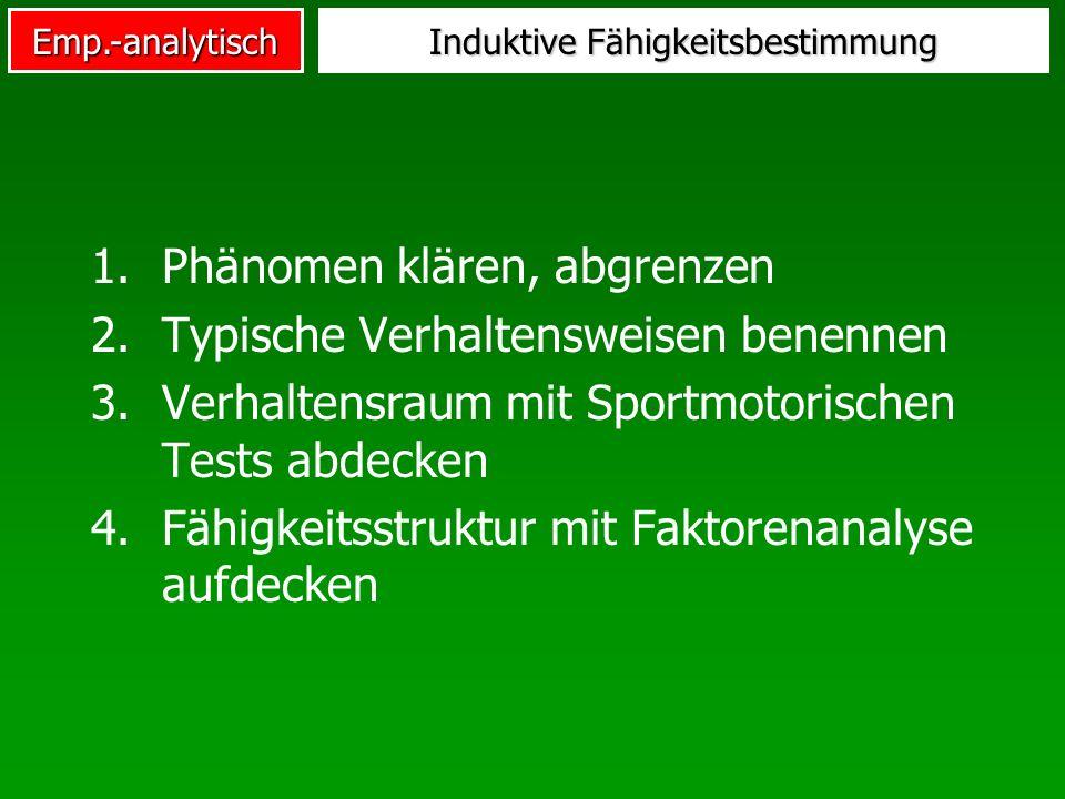 Emp.-analytisch Induktive Fähigkeitsbestimmung 1.Phänomen klären, abgrenzen 2.Typische Verhaltensweisen benennen 3.Verhaltensraum mit Sportmotorischen