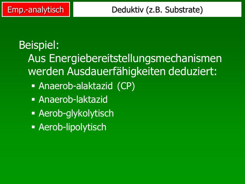 Emp.-analytisch Deduktiv (z.B. Substrate) Beispiel: Aus Energiebereitstellungsmechanismen werden Ausdauerfähigkeiten deduziert: Anaerob-alaktazid (CP)