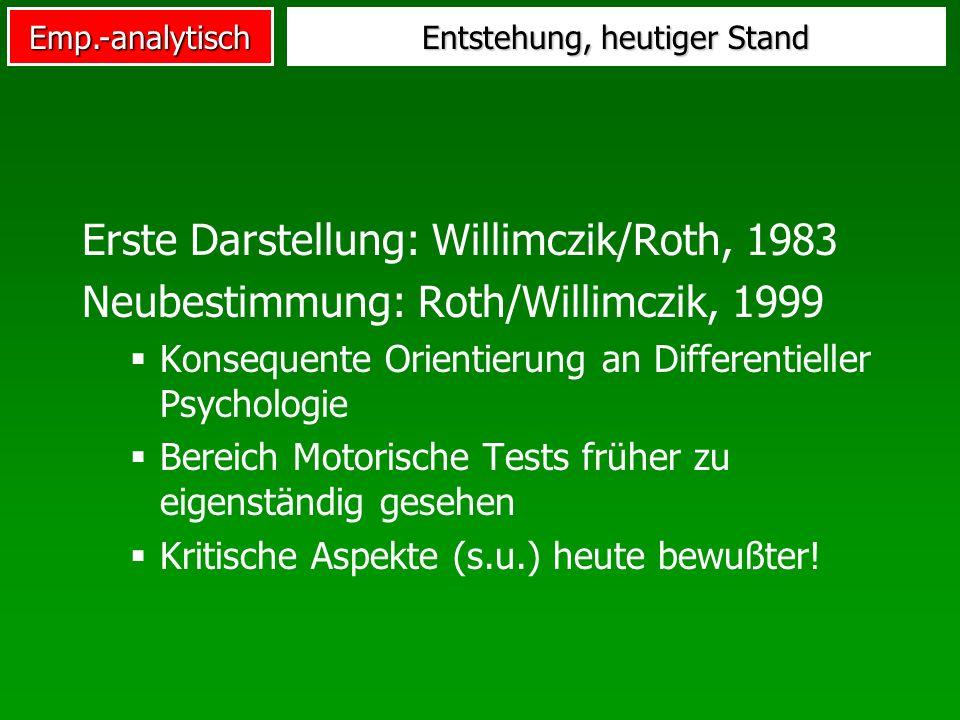 Emp.-analytisch Entstehung, heutiger Stand Erste Darstellung: Willimczik/Roth, 1983 Neubestimmung: Roth/Willimczik, 1999 Konsequente Orientierung an D