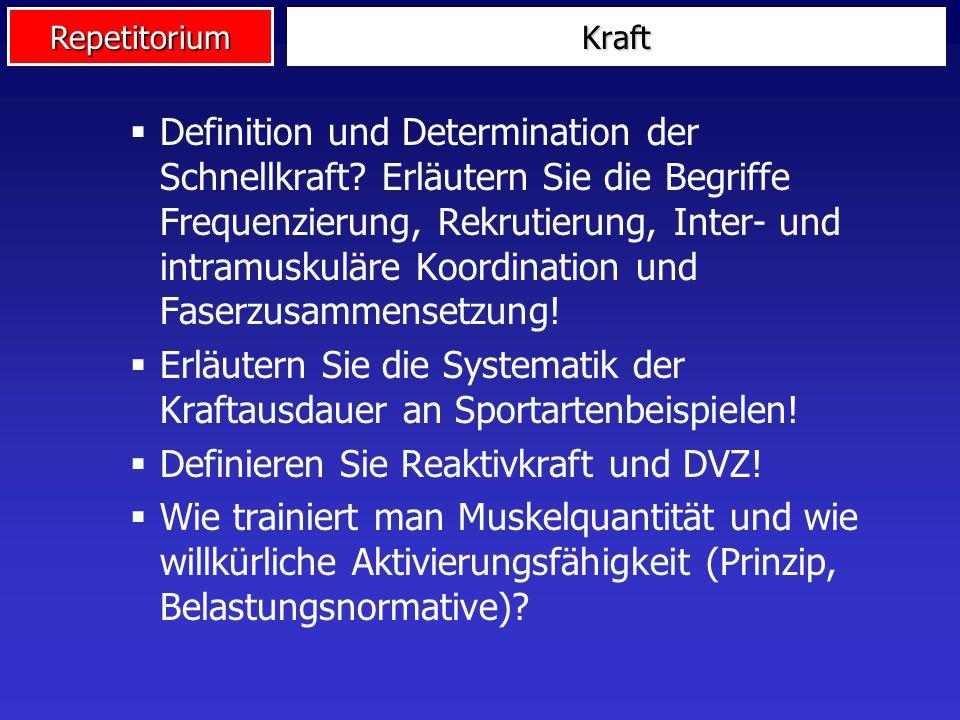 Repetitorium Definition und Determination der Schnellkraft? Erläutern Sie die Begriffe Frequenzierung, Rekrutierung, Inter- und intramuskuläre Koordin