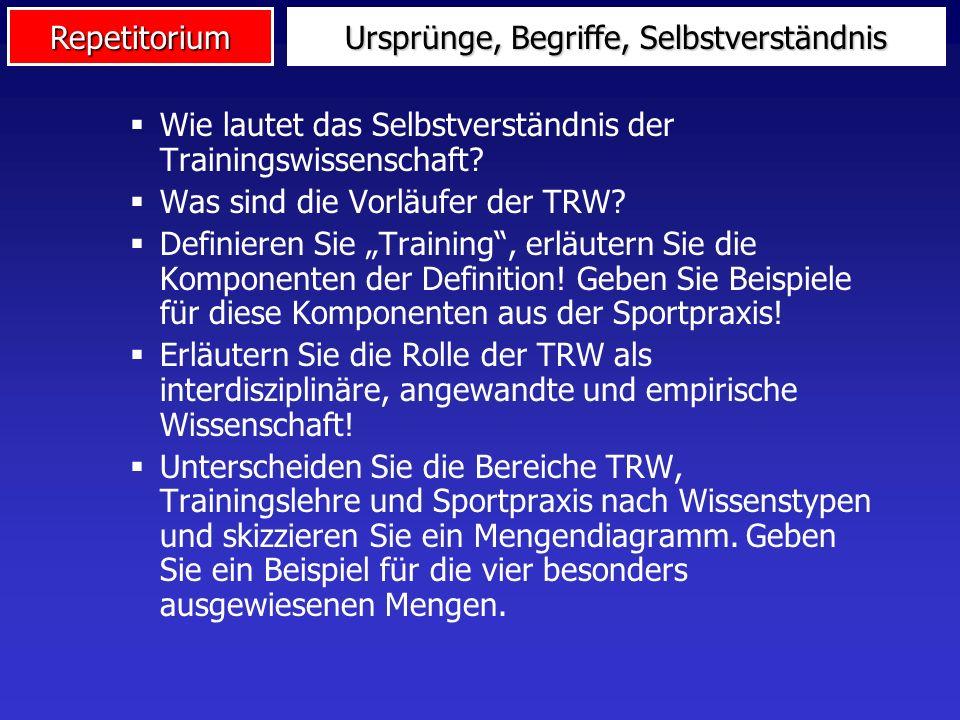 Repetitorium Wie lautet das Selbstverständnis der Trainingswissenschaft? Was sind die Vorläufer der TRW? Definieren Sie Training, erläutern Sie die Ko