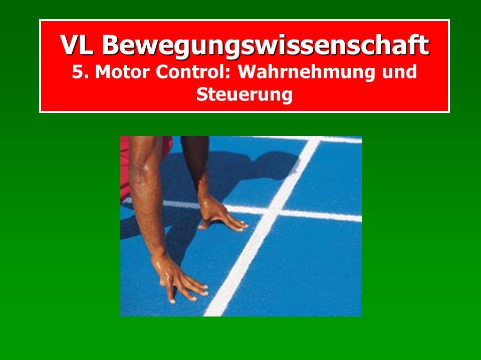 VL Bewegungswissenschaft VL Bewegungswissenschaft 5. Motor Control: Wahrnehmung und Steuerung