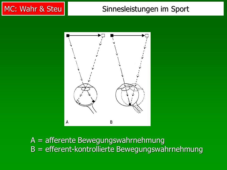 MC: Wahr & Steu Sinnesleistungen im Sport A = afferente Bewegungswahrnehmung B = efferent-kontrollierte Bewegungswahrnehmung