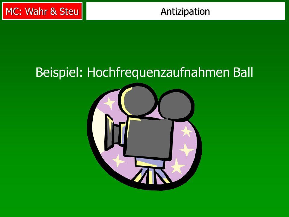 MC: Wahr & Steu Antizipation Beispiel: Hochfrequenzaufnahmen Ball
