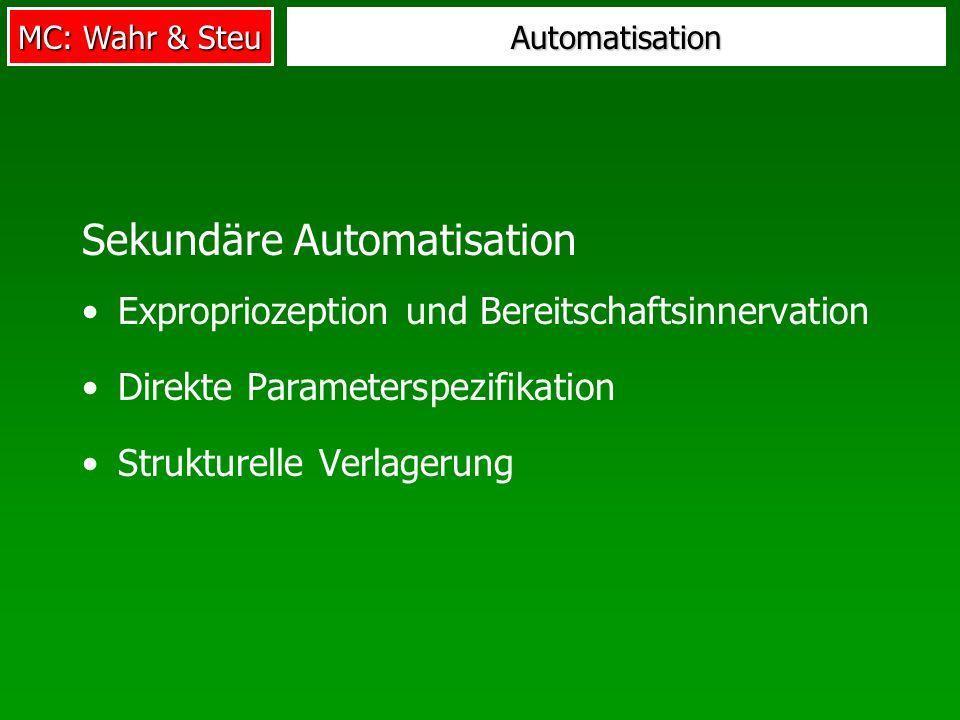 MC: Wahr & Steu Automatisation Sekundäre Automatisation Expropriozeption und Bereitschaftsinnervation Direkte Parameterspezifikation Strukturelle Verl