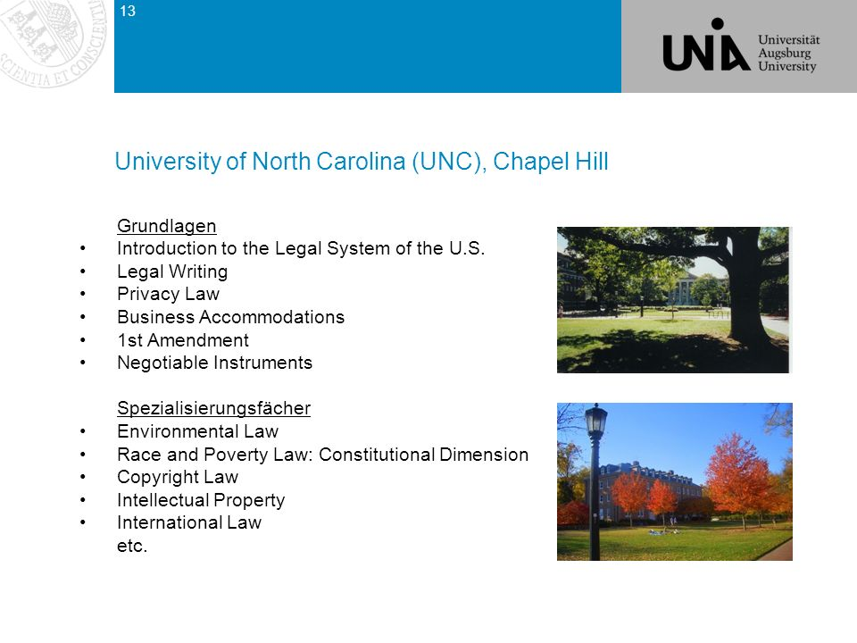 Grundlagen Introduction to the Legal System of the U.S. Legal Writing Privacy Law Business Accommodations 1st Amendment Negotiable Instruments Spezial