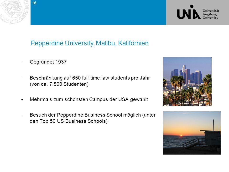 -Gegründet 1937 -Beschränkung auf 650 full-time law students pro Jahr (von ca.