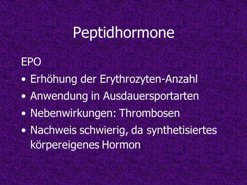 Peptidhormone EPO Erhöhung der Erythrozyten-Anzahl Anwendung in Ausdauersportarten Nebenwirkungen: Thrombosen Nachweis schwierig, da synthetisiertes k