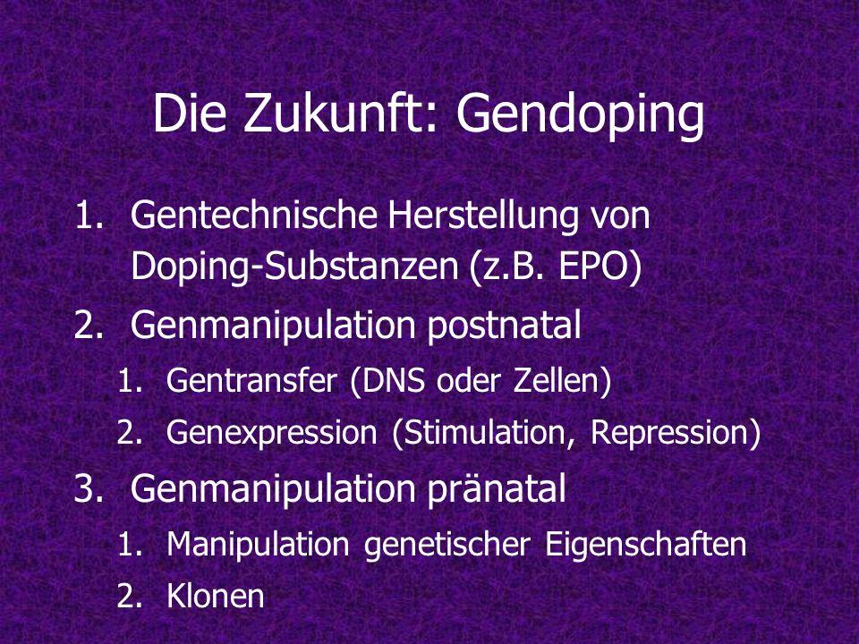 Die Zukunft: Gendoping 1.Gentechnische Herstellung von Doping-Substanzen (z.B. EPO) 2.Genmanipulation postnatal 1.Gentransfer (DNS oder Zellen) 2.Gene