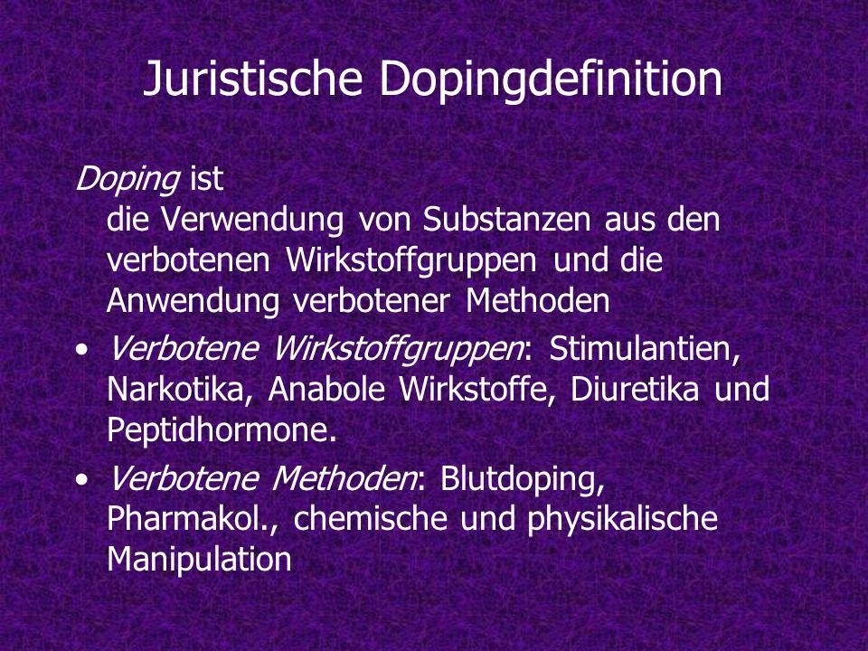 Juristische Dopingdefinition Doping ist die Verwendung von Substanzen aus den verbotenen Wirkstoffgruppen und die Anwendung verbotener Methoden Verbot