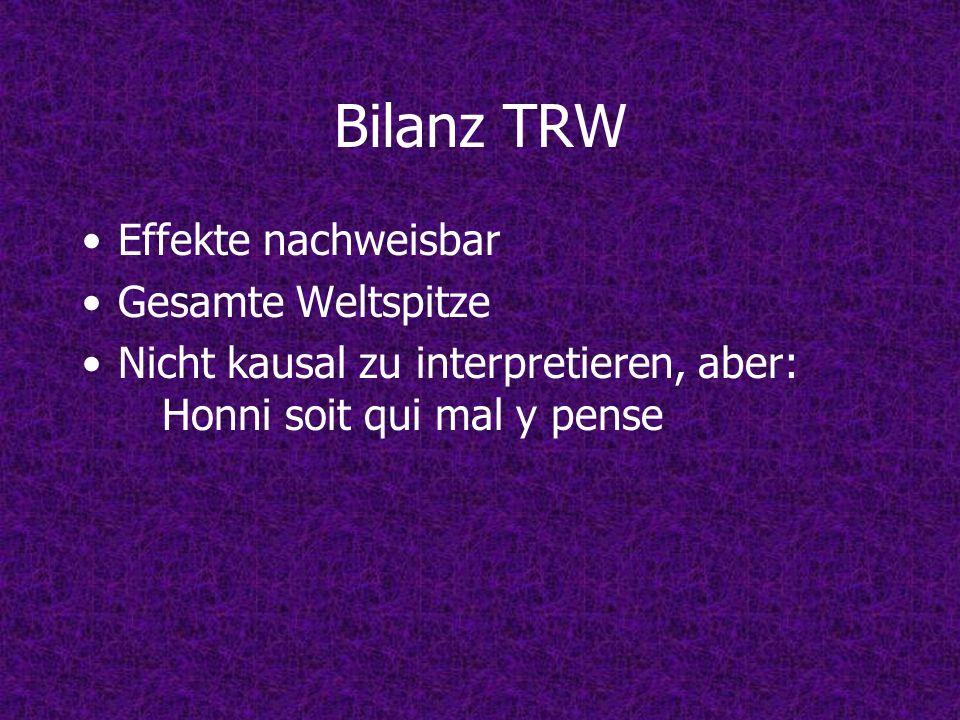 Bilanz TRW Effekte nachweisbar Gesamte Weltspitze Nicht kausal zu interpretieren, aber: Honni soit qui mal y pense