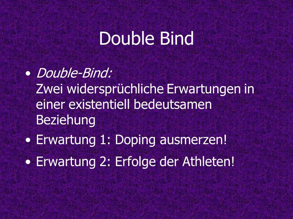 Double Bind Double-Bind: Zwei widersprüchliche Erwartungen in einer existentiell bedeutsamen Beziehung Erwartung 1: Doping ausmerzen! Erwartung 2: Erf