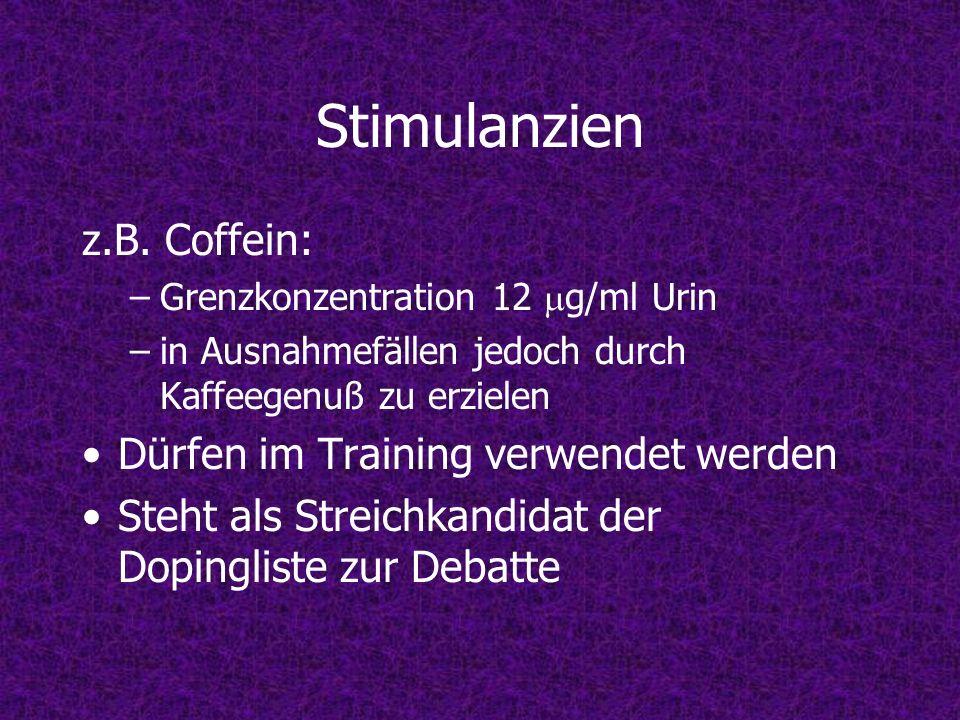 Stimulanzien z.B. Coffein: –Grenzkonzentration 12 g/ml Urin –in Ausnahmefällen jedoch durch Kaffeegenuß zu erzielen Dürfen im Training verwendet werde