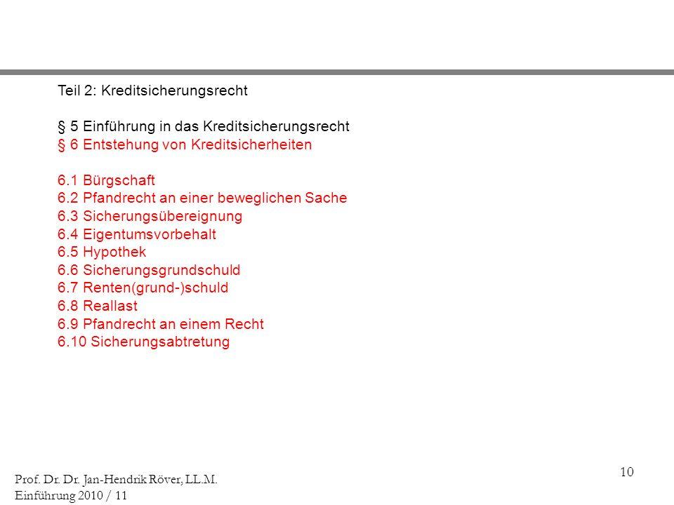 10 Prof. Dr. Dr. Jan-Hendrik Röver, LL.M. Einführung 2010 / 11 Teil 2: Kreditsicherungsrecht § 5 Einführung in das Kreditsicherungsrecht § 6 Entstehun
