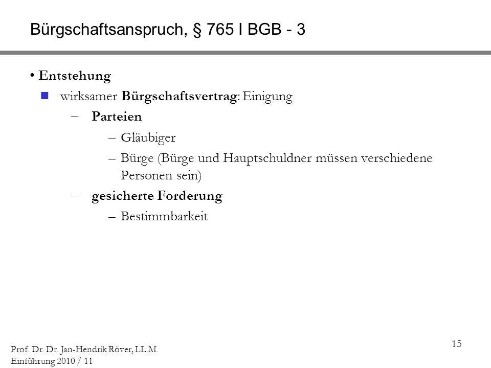 15 Prof. Dr. Dr. Jan-Hendrik Röver, LL.M. Einführung 2010 / 11 Bürgschaftsanspruch, § 765 I BGB - 3 Entstehung wirksamer Bürgschaftsvertrag: Einigung