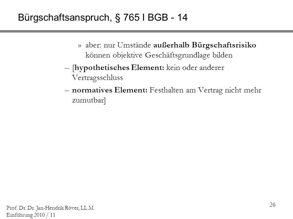 26 Prof. Dr. Dr. Jan-Hendrik Röver, LL.M. Einführung 2010 / 11 Bürgschaftsanspruch, § 765 I BGB - 14 »aber: nur Umstände außerhalb Bürgschaftsrisiko k