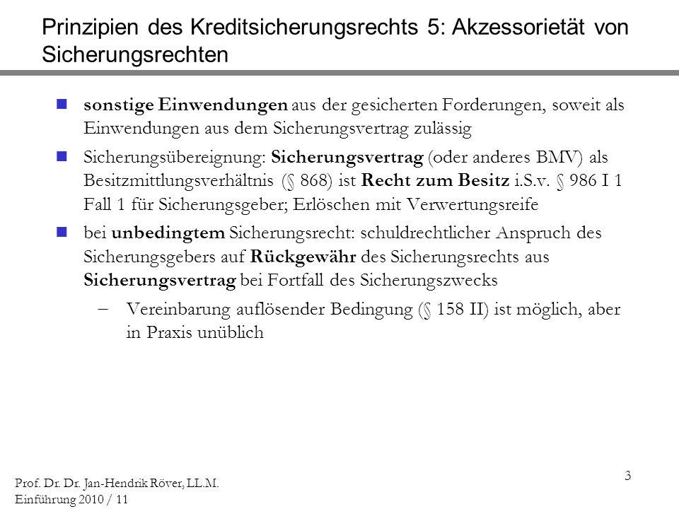 3 Prof. Dr. Dr. Jan-Hendrik Röver, LL.M. Einführung 2010 / 11 Prinzipien des Kreditsicherungsrechts 5: Akzessorietät von Sicherungsrechten sonstige Ei