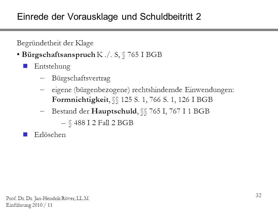 32 Prof. Dr. Dr. Jan-Hendrik Röver, LL.M. Einführung 2010 / 11 Einrede der Vorausklage und Schuldbeitritt 2 Begründetheit der Klage Bürgschaftsanspruc