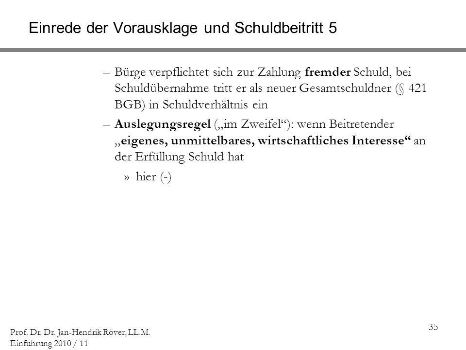 35 Prof. Dr. Dr. Jan-Hendrik Röver, LL.M. Einführung 2010 / 11 Einrede der Vorausklage und Schuldbeitritt 5 –Bürge verpflichtet sich zur Zahlung fremd