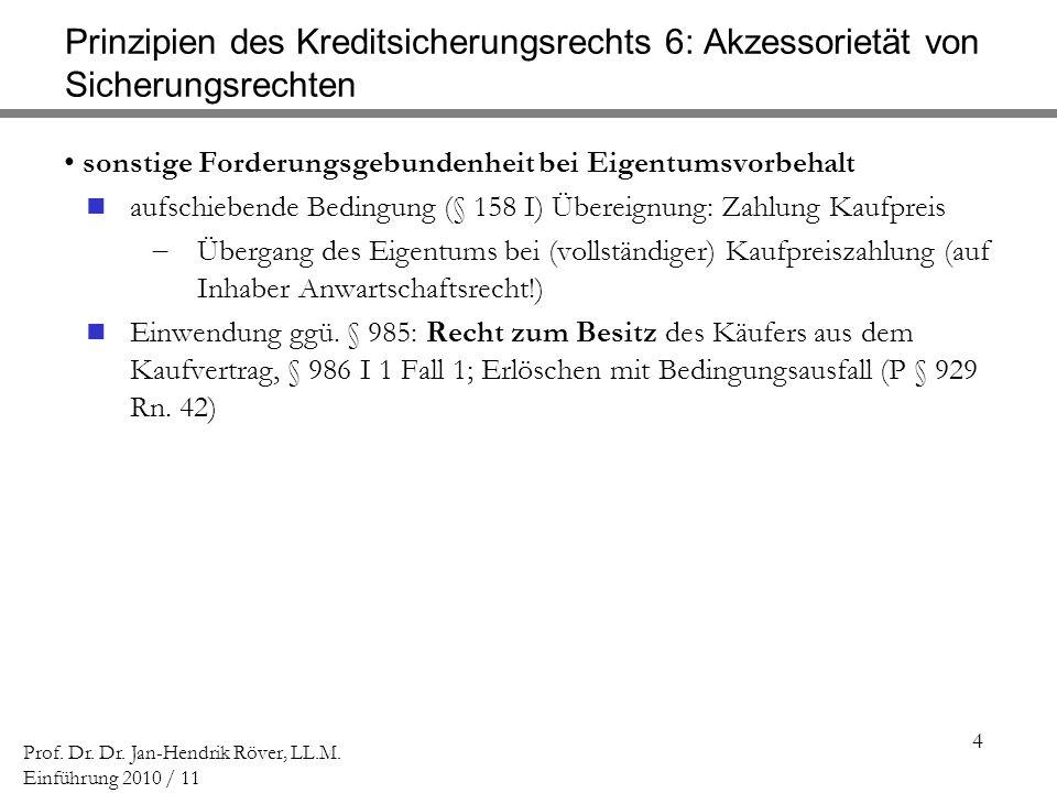 4 Prof. Dr. Dr. Jan-Hendrik Röver, LL.M. Einführung 2010 / 11 Prinzipien des Kreditsicherungsrechts 6: Akzessorietät von Sicherungsrechten sonstige Fo