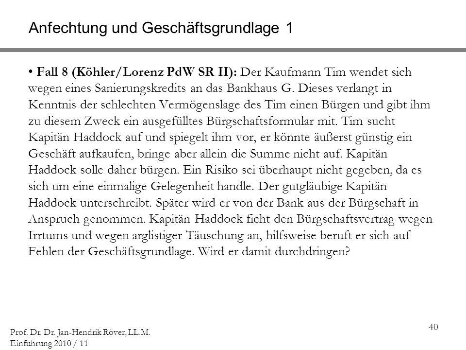 40 Prof. Dr. Dr. Jan-Hendrik Röver, LL.M. Einführung 2010 / 11 Anfechtung und Geschäftsgrundlage 1 Fall 8 (Köhler/Lorenz PdW SR II): Der Kaufmann Tim