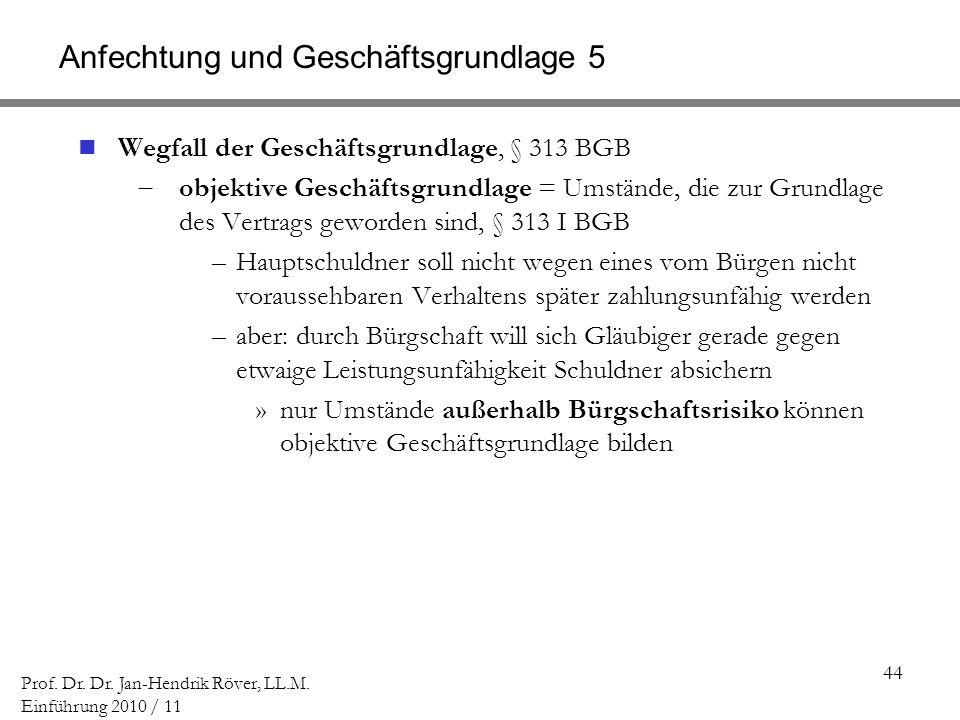44 Prof. Dr. Dr. Jan-Hendrik Röver, LL.M. Einführung 2010 / 11 Anfechtung und Geschäftsgrundlage 5 Wegfall der Geschäftsgrundlage, § 313 BGB objektive