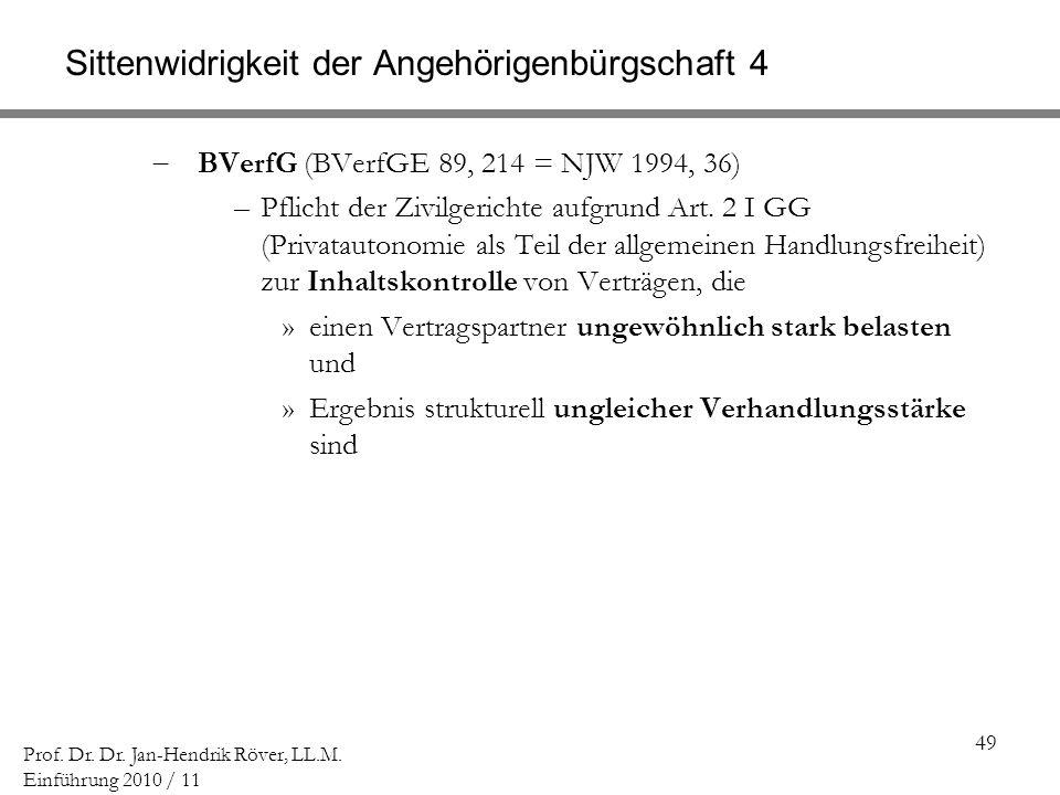 49 Prof. Dr. Dr. Jan-Hendrik Röver, LL.M. Einführung 2010 / 11 Sittenwidrigkeit der Angehörigenbürgschaft 4 BVerfG (BVerfGE 89, 214 = NJW 1994, 36) –P