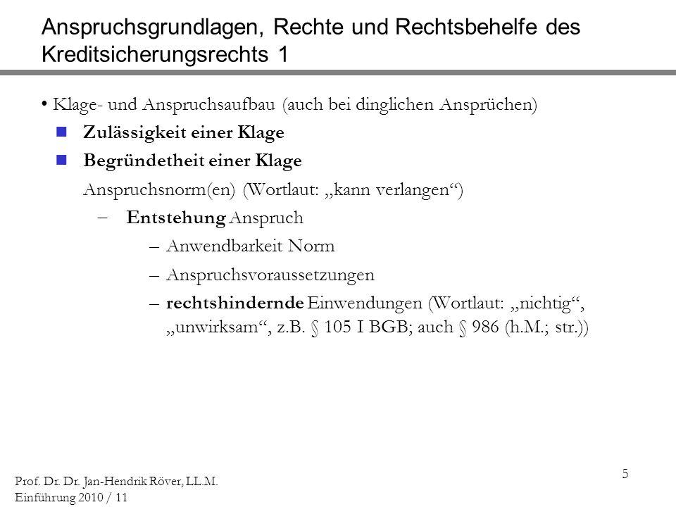 5 Prof. Dr. Dr. Jan-Hendrik Röver, LL.M. Einführung 2010 / 11 Anspruchsgrundlagen, Rechte und Rechtsbehelfe des Kreditsicherungsrechts 1 Klage- und An