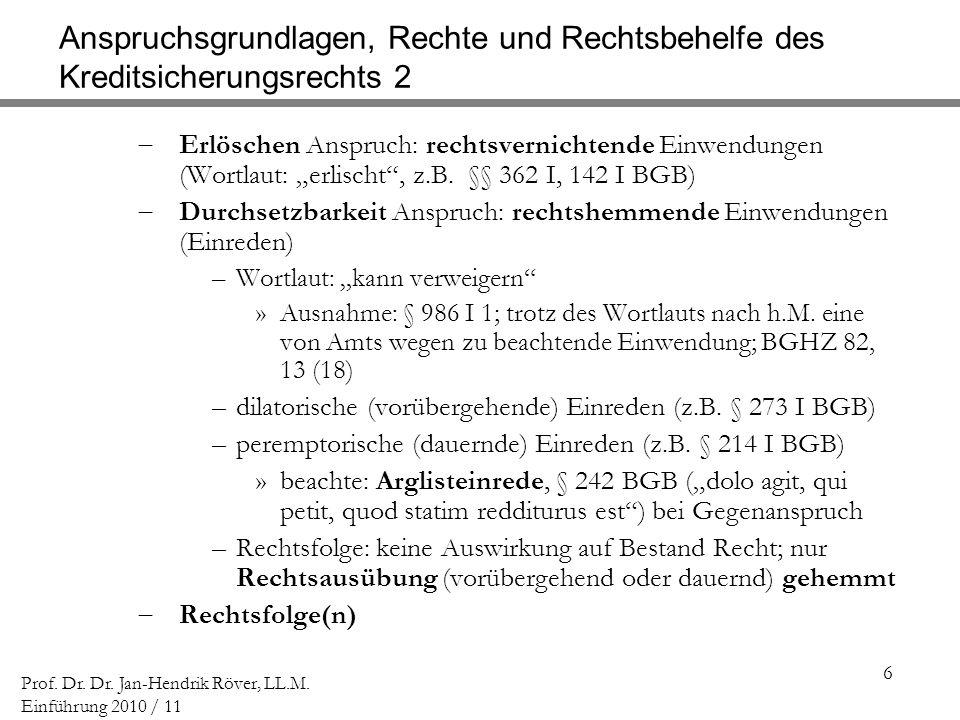 6 Prof. Dr. Dr. Jan-Hendrik Röver, LL.M. Einführung 2010 / 11 Anspruchsgrundlagen, Rechte und Rechtsbehelfe des Kreditsicherungsrechts 2 Erlöschen Ans