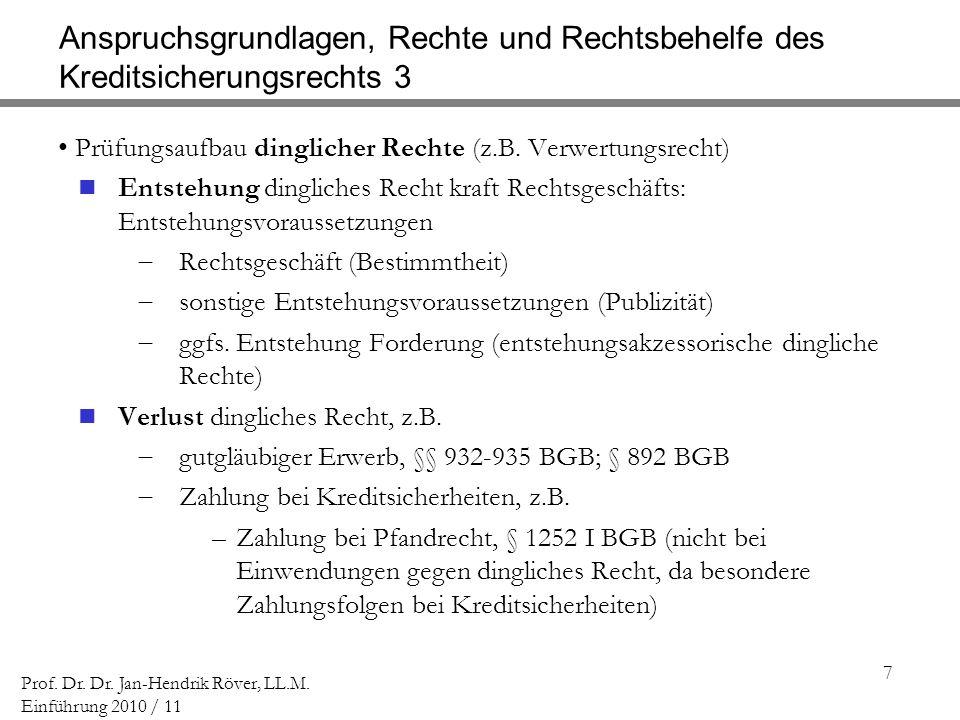 7 Prof. Dr. Dr. Jan-Hendrik Röver, LL.M. Einführung 2010 / 11 Anspruchsgrundlagen, Rechte und Rechtsbehelfe des Kreditsicherungsrechts 3 Prüfungsaufba