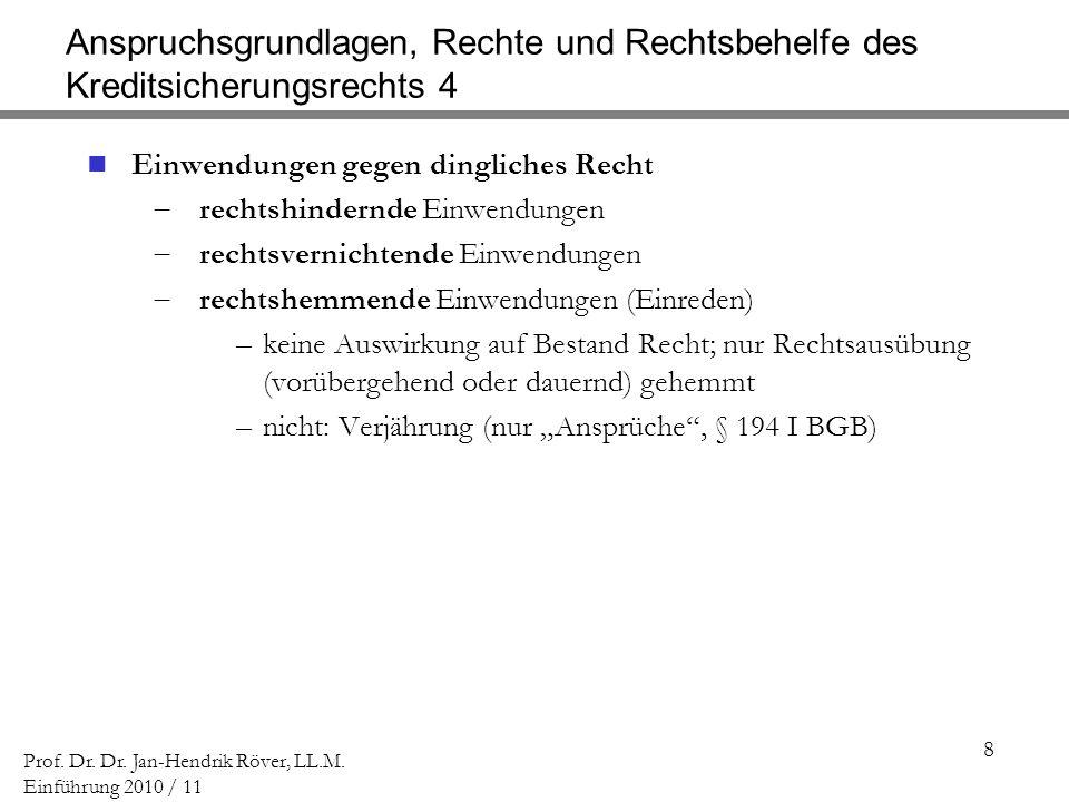 8 Prof. Dr. Dr. Jan-Hendrik Röver, LL.M. Einführung 2010 / 11 Anspruchsgrundlagen, Rechte und Rechtsbehelfe des Kreditsicherungsrechts 4 Einwendungen
