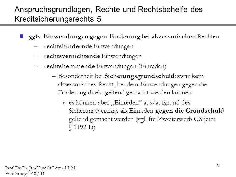9 Prof. Dr. Dr. Jan-Hendrik Röver, LL.M. Einführung 2010 / 11 Anspruchsgrundlagen, Rechte und Rechtsbehelfe des Kreditsicherungsrechts 5 ggfs. Einwend