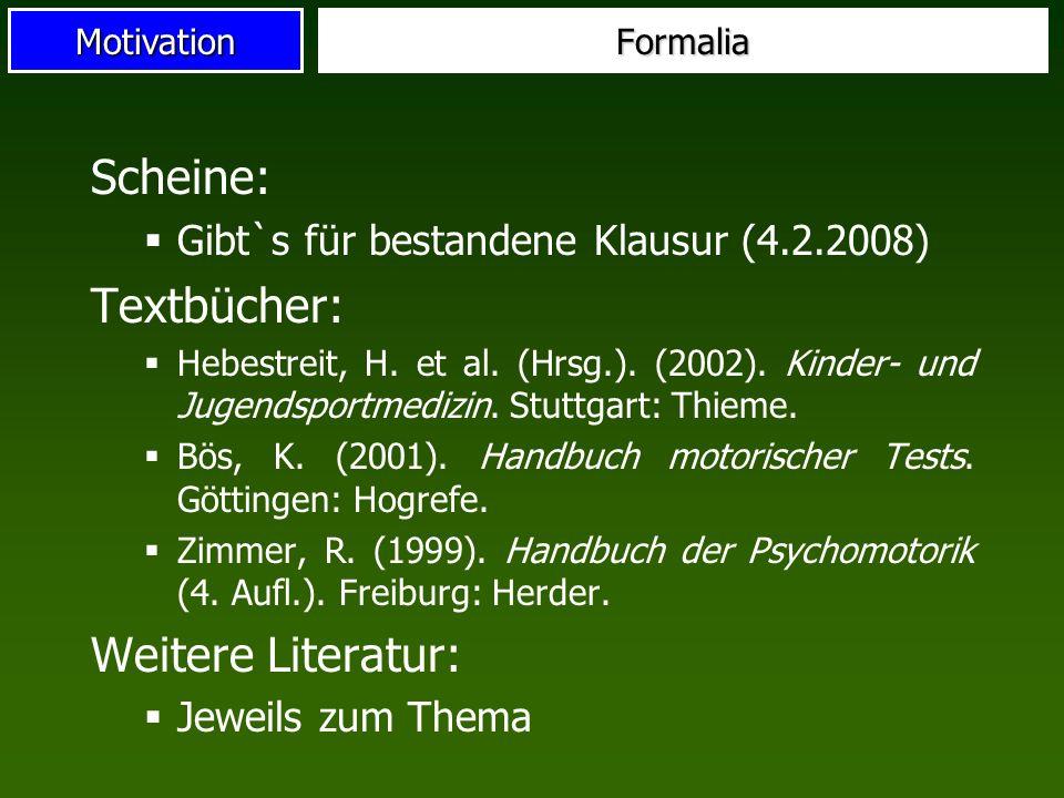 Motivation Scheine: Gibt`s für bestandene Klausur (4.2.2008) Textbücher: Hebestreit, H. et al. (Hrsg.). (2002). Kinder- und Jugendsportmedizin. Stuttg
