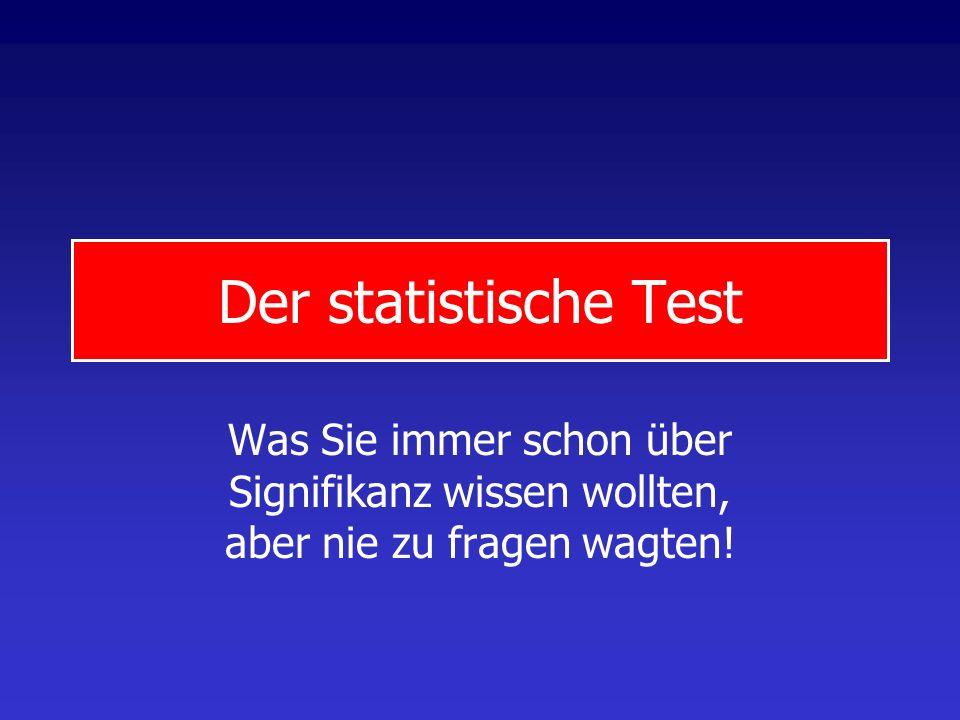 Der statistische Test Was Sie immer schon über Signifikanz wissen wollten, aber nie zu fragen wagten!