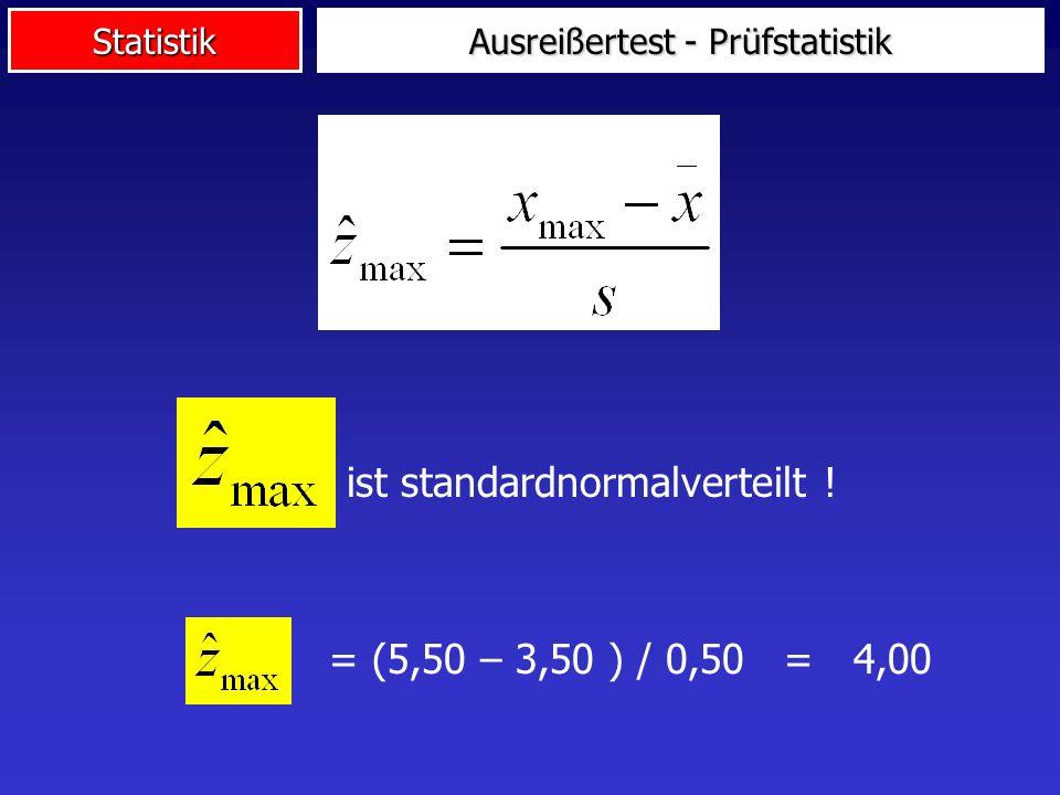 Statistik Ausreißertest - Prüfstatistik ist standardnormalverteilt ! = (5,50 – 3,50 ) / 0,50 = 4,00