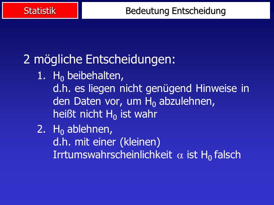 Statistik Bedeutung Entscheidung 2 mögliche Entscheidungen: 1.H 0 beibehalten, d.h.