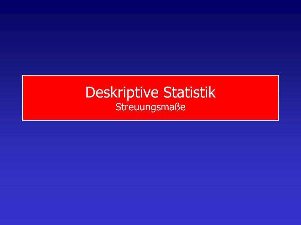 StatistikStreuungsmaße Spannweite: Differenz zwischen größtem und kleinstem Wert der Stichprobe x max -x min