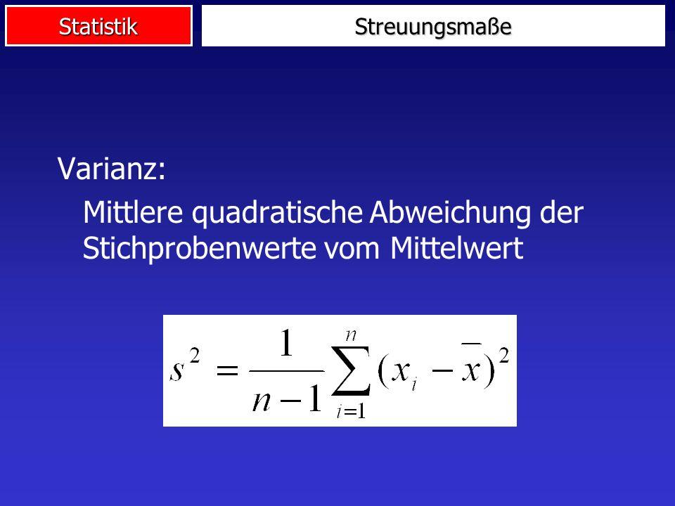 StatistikStreuungsmaße Varianz: Mittlere quadratische Abweichung der Stichprobenwerte vom Mittelwert