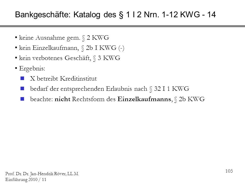105 Prof. Dr. Dr. Jan-Hendrik Röver, LL.M. Einführung 2010 / 11 Bankgeschäfte: Katalog des § 1 I 2 Nrn. 1-12 KWG - 14 keine Ausnahme gem. § 2 KWG kein