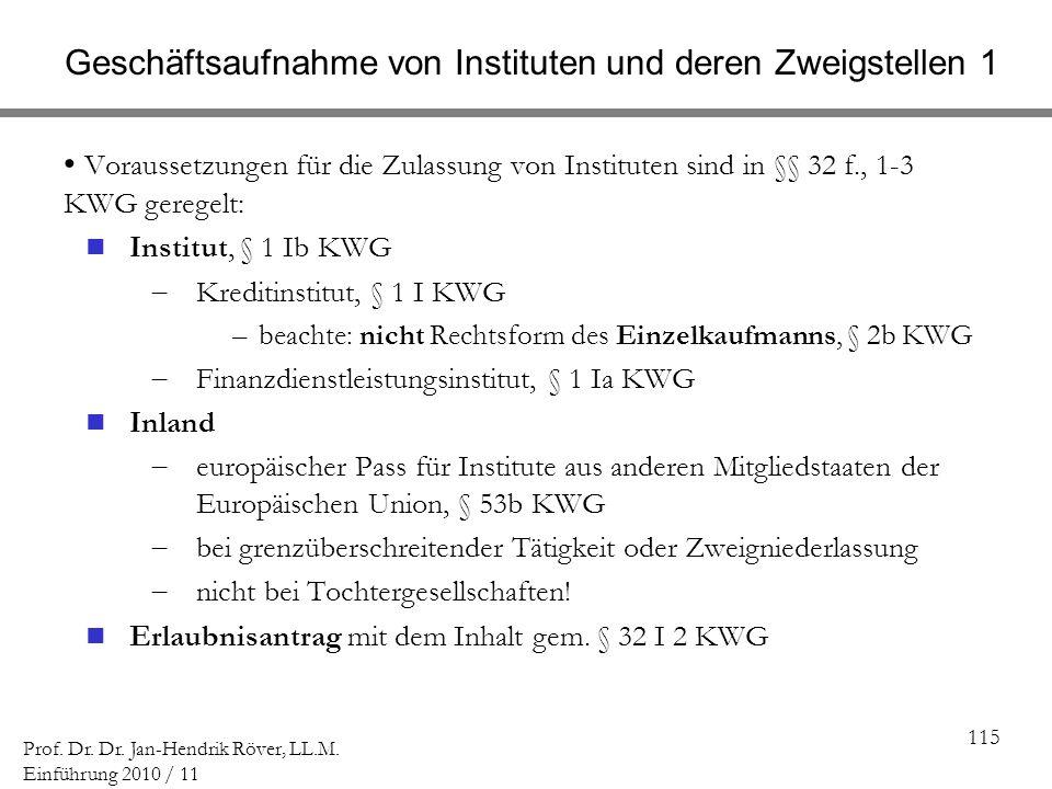 115 Prof. Dr. Dr. Jan-Hendrik Röver, LL.M. Einführung 2010 / 11 Geschäftsaufnahme von Instituten und deren Zweigstellen 1 Voraussetzungen für die Zula