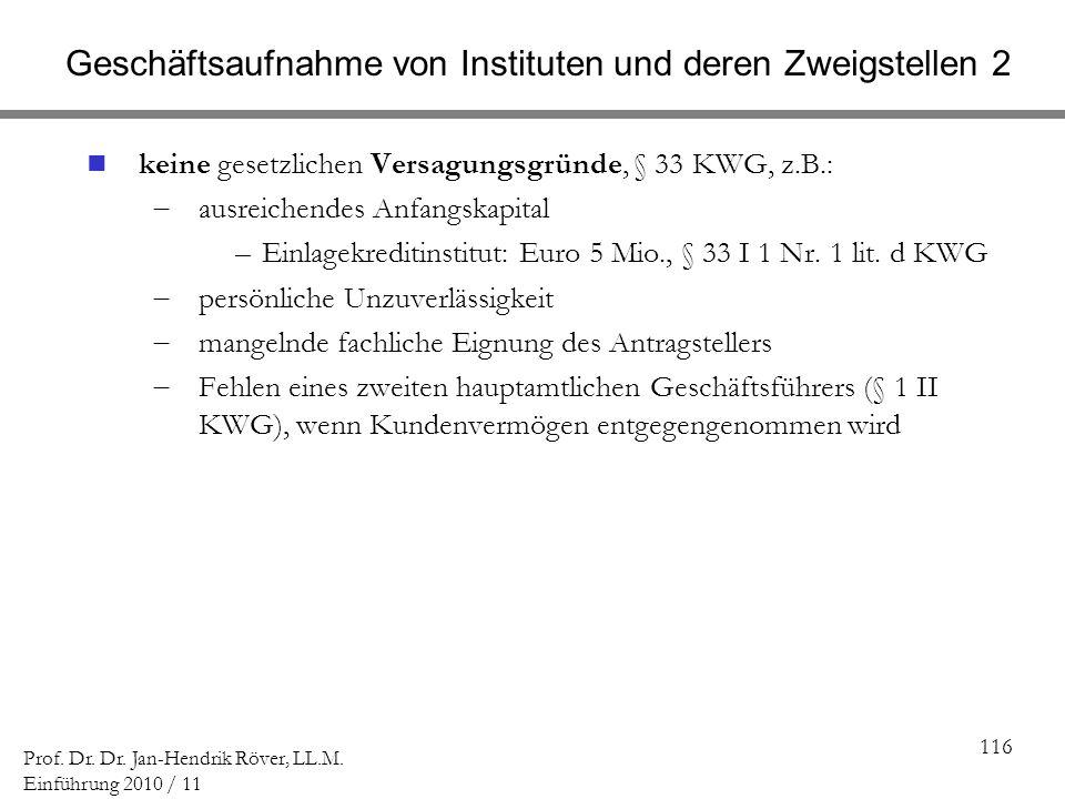 116 Prof. Dr. Dr. Jan-Hendrik Röver, LL.M. Einführung 2010 / 11 Geschäftsaufnahme von Instituten und deren Zweigstellen 2 keine gesetzlichen Versagung