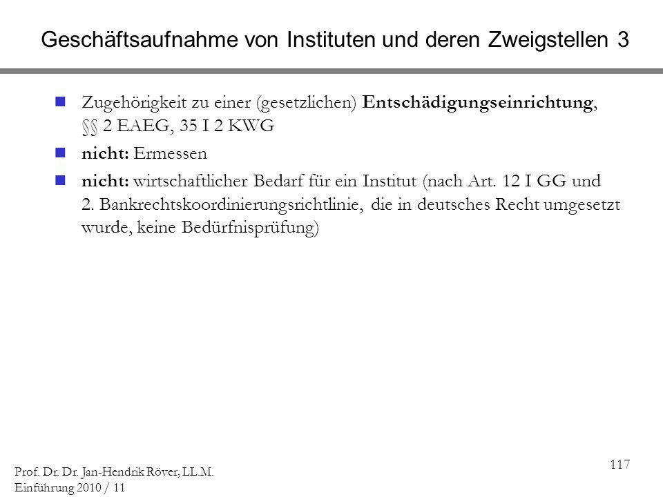 117 Prof. Dr. Dr. Jan-Hendrik Röver, LL.M. Einführung 2010 / 11 Geschäftsaufnahme von Instituten und deren Zweigstellen 3 Zugehörigkeit zu einer (gese