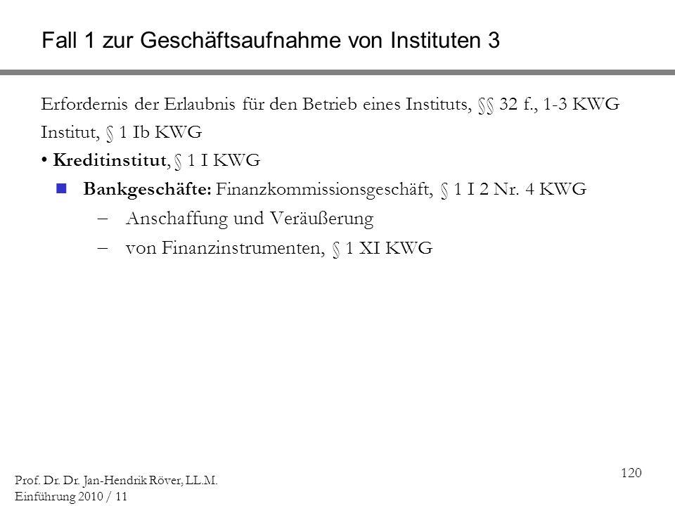 120 Prof. Dr. Dr. Jan-Hendrik Röver, LL.M. Einführung 2010 / 11 Fall 1 zur Geschäftsaufnahme von Instituten 3 Erfordernis der Erlaubnis für den Betrie