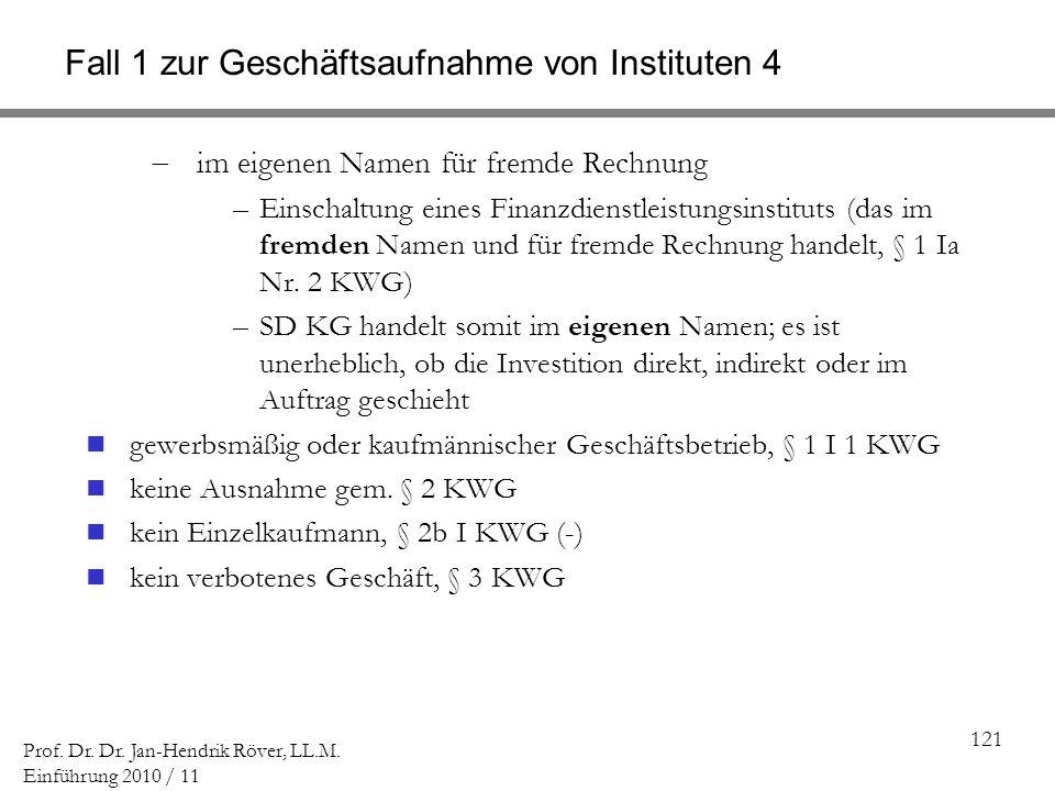 121 Prof. Dr. Dr. Jan-Hendrik Röver, LL.M. Einführung 2010 / 11 Fall 1 zur Geschäftsaufnahme von Instituten 4 im eigenen Namen für fremde Rechnung –Ei