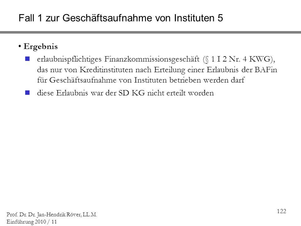 122 Prof. Dr. Dr. Jan-Hendrik Röver, LL.M. Einführung 2010 / 11 Fall 1 zur Geschäftsaufnahme von Instituten 5 Ergebnis erlaubnispflichtiges Finanzkomm