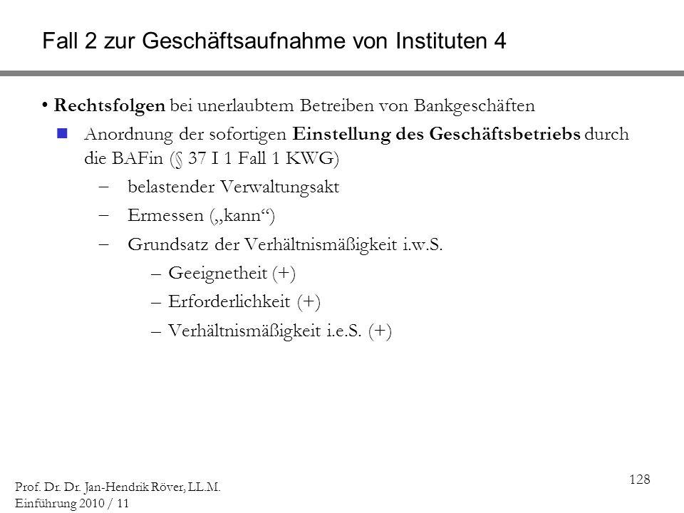 128 Prof. Dr. Dr. Jan-Hendrik Röver, LL.M. Einführung 2010 / 11 Fall 2 zur Geschäftsaufnahme von Instituten 4 Rechtsfolgen bei unerlaubtem Betreiben v