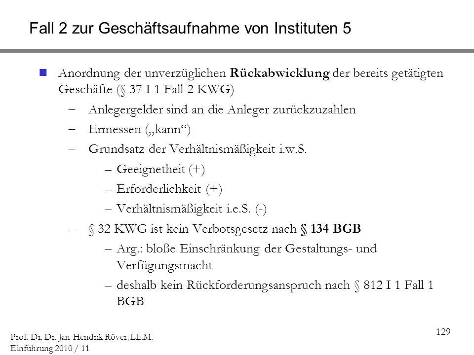 129 Prof. Dr. Dr. Jan-Hendrik Röver, LL.M. Einführung 2010 / 11 Fall 2 zur Geschäftsaufnahme von Instituten 5 Anordnung der unverzüglichen Rückabwickl