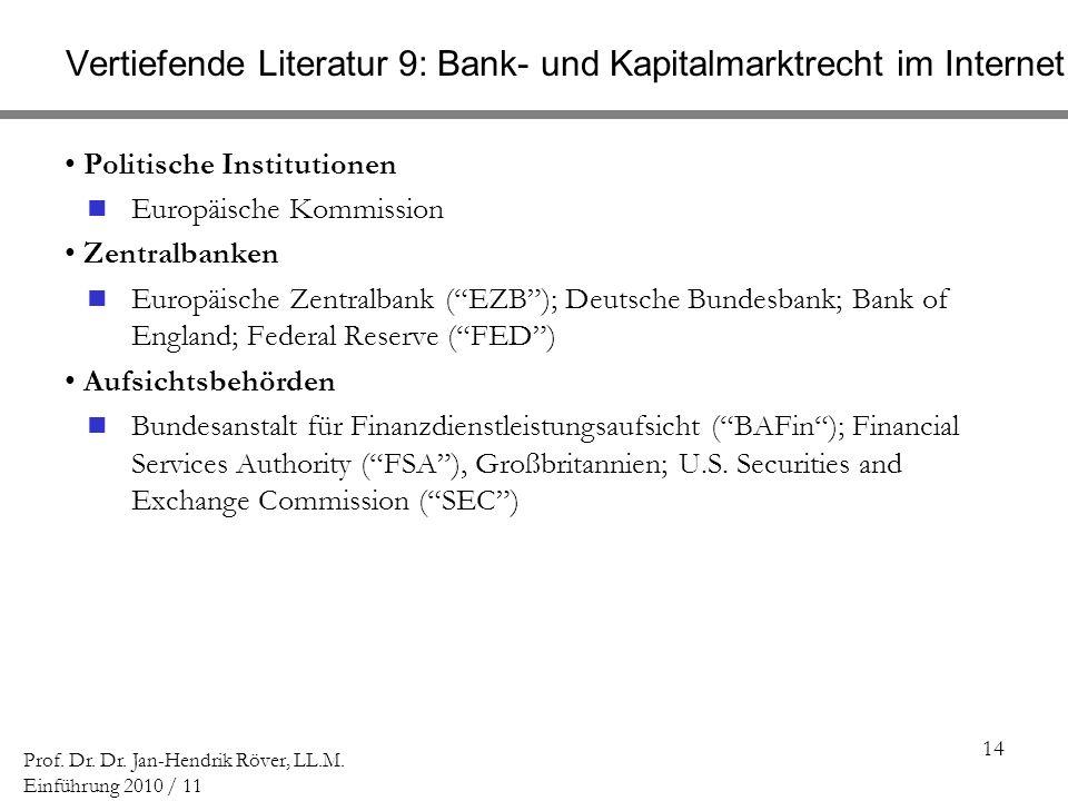 14 Prof. Dr. Dr. Jan-Hendrik Röver, LL.M. Einführung 2010 / 11 Vertiefende Literatur 9: Bank- und Kapitalmarktrecht im Internet Politische Institution